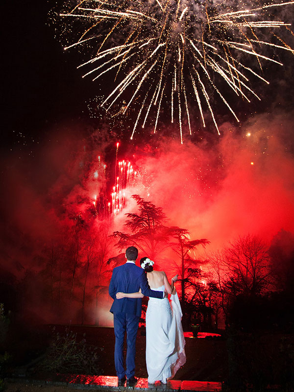 Wedding couple watch a Sonic Fireworks display
