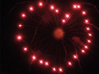 Giant Red Heart Firework in the Sky